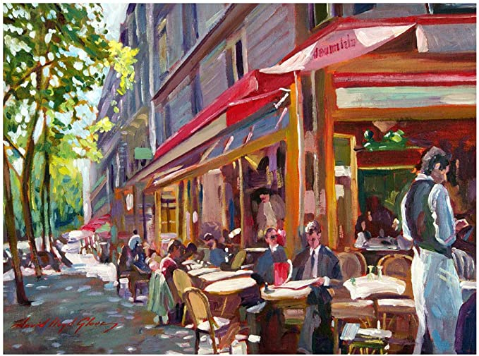 Amazon Com Paris Cafe By David Lloyd Glover 35x47 Inch Canvas Wall Art Prints Posters Prints