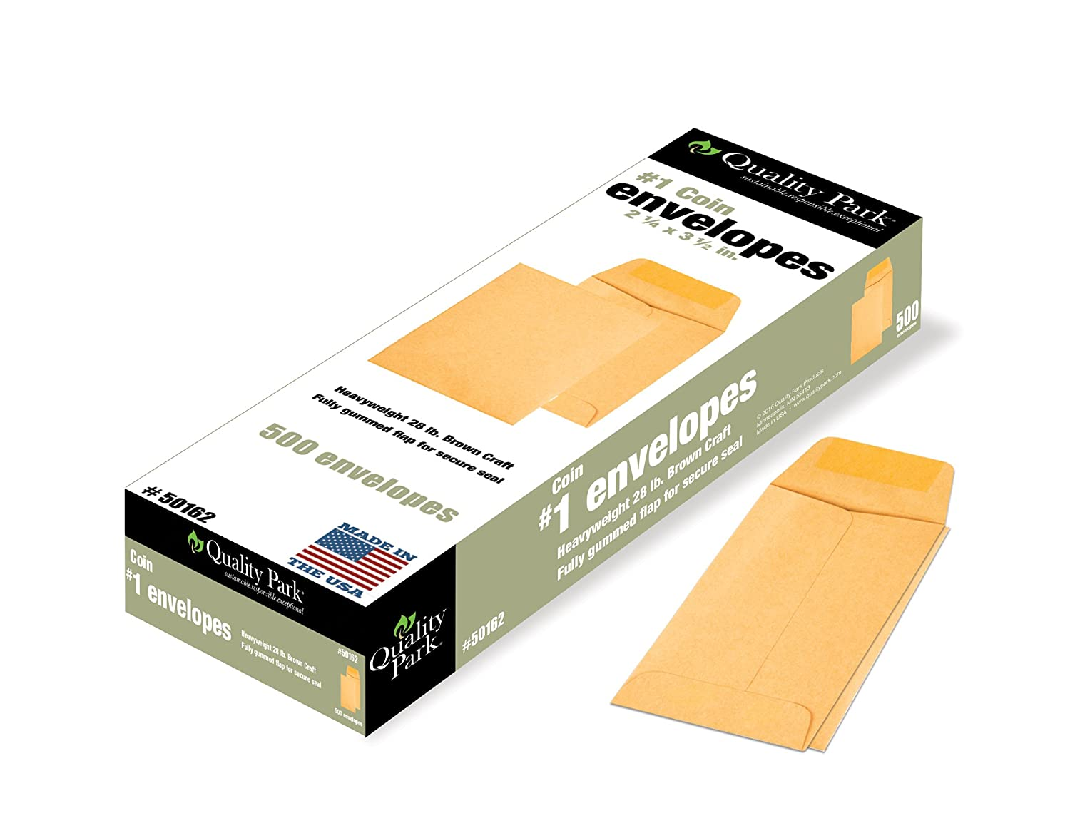 #1 Coin and Small Parts Envelope with Gummed Flap for Home or Office Use, 28 lb. Brown Kraft, 2-1/4 x 3-1/2, 500 per Box (50162)