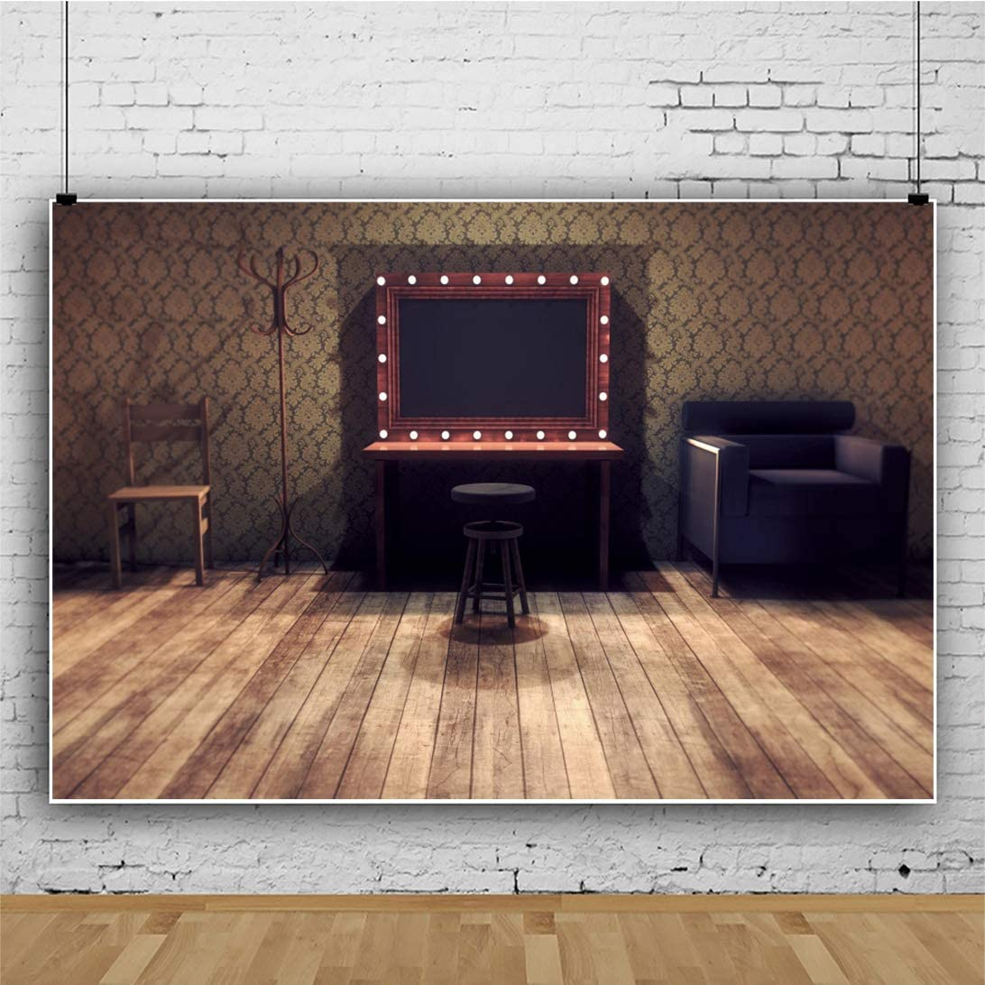YEELE Vintage Dressing Room Backdrop 15x10ft Old Makeup Table and Mirror Photography Background Kids Adults Portrait Photoshoot Props Digital Wallpaper