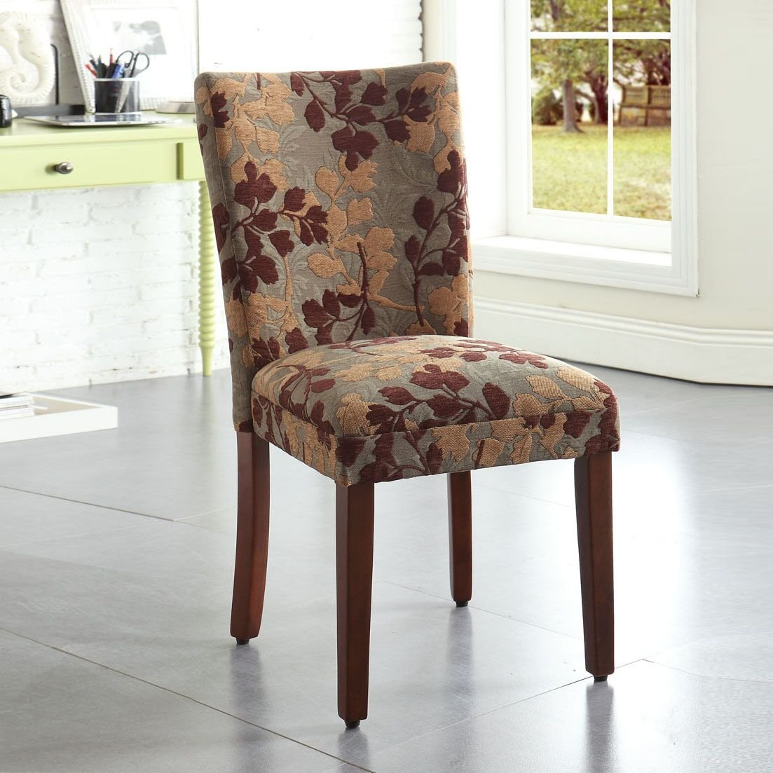 Kinfine Parsons Upholstered Accent Dining Chair, Single Pack, Brown Sage Leaf