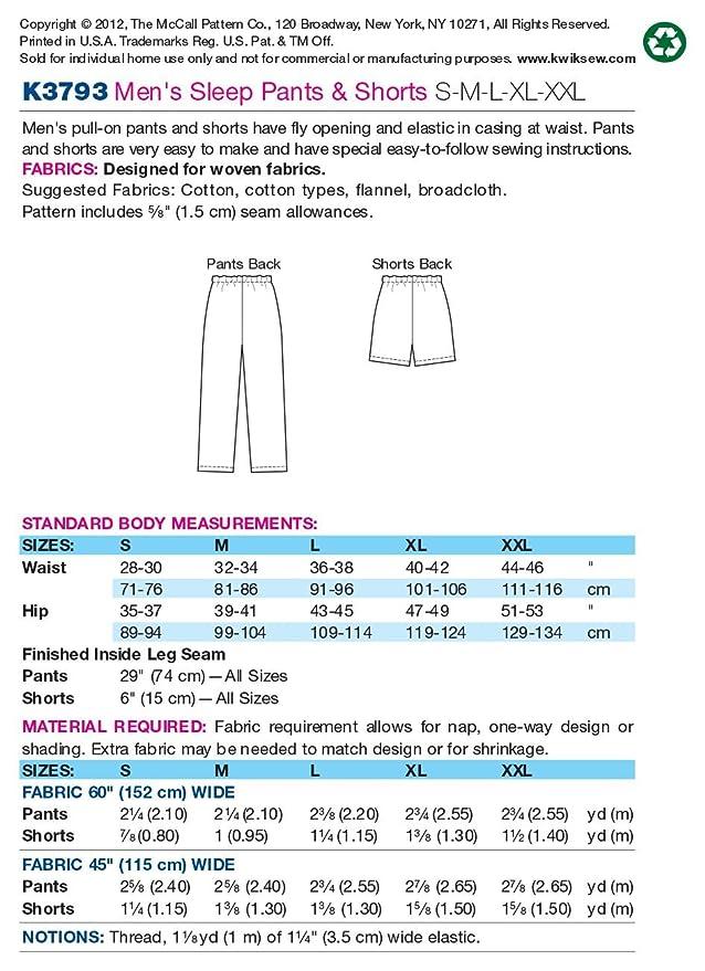 Amazon.com: Kwik Sew K3793 Sleep Pants and Shorts Sewing Pattern ...