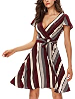 Noctflos Women'S Cap Sleeves Sexy V neck Wrap Striped Casual Dress