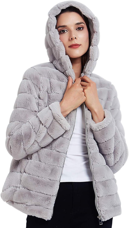Geschallino Womens Soft Faux Fur Hooded Jacket Spring 2 Pockets Short//Long Coat Outwear Warm Fluffy Fleece Tops for Winter