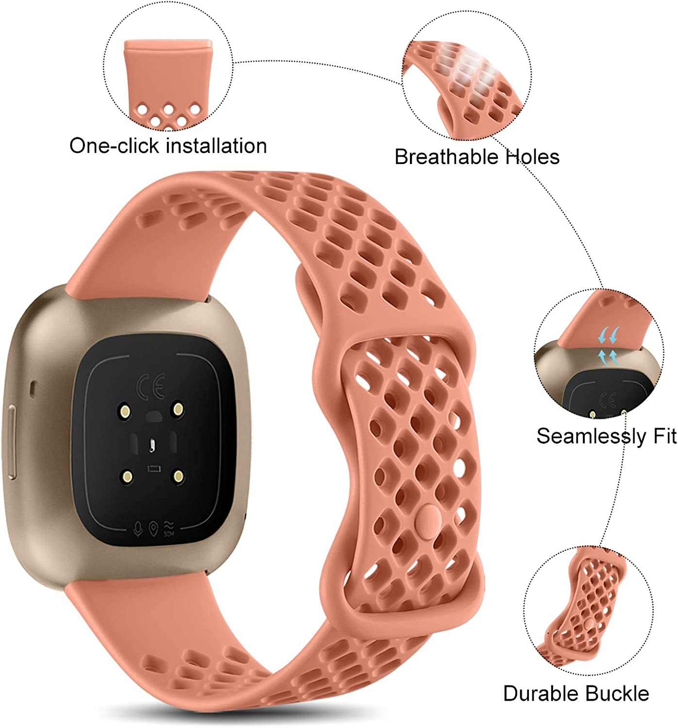 Pink Nofeda Bands Compatible with Fitbit Sense//Fitbit Versa 3 Soft TPU Replacement Breathable Sport Wristbands Accessories with Air Holes for Women Men Large