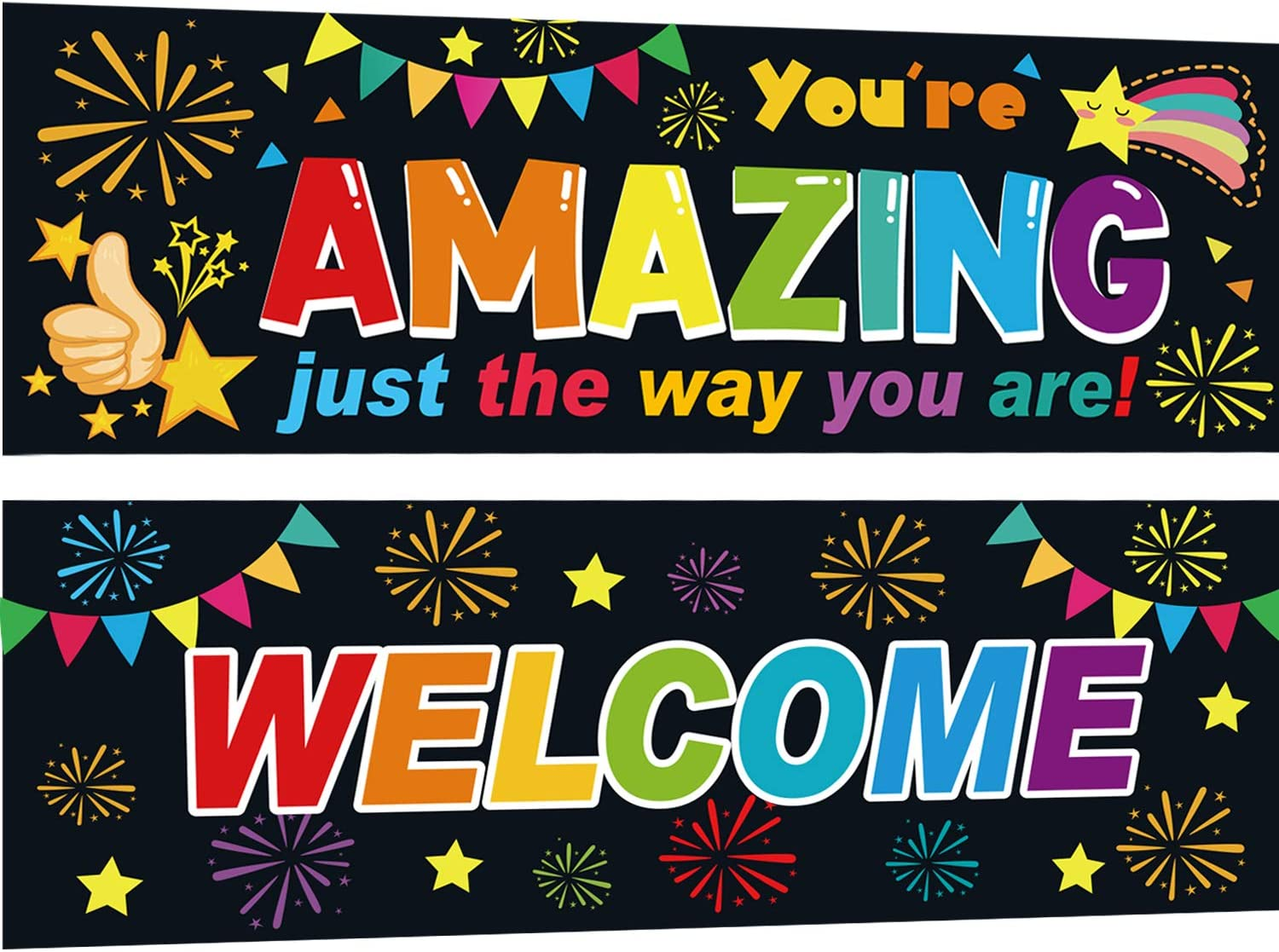 Yoklili Classroom Decorations Banner, Welcome & You are Amazing Banners Set for Teachers Bulletin Board Decoration Wall Decor, 13 x 39 inches