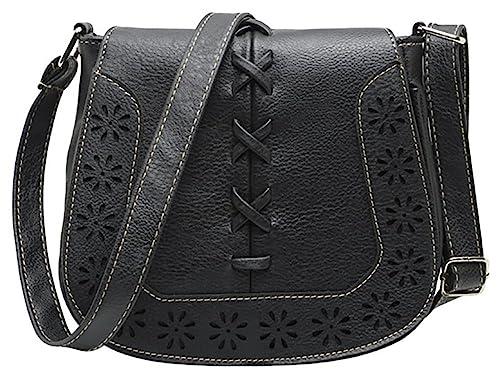 f8af8866de4e Women s PU Sanddle Bag Hobo Crossbody Shoulder Travel Purse with Hollow  Lacing Black