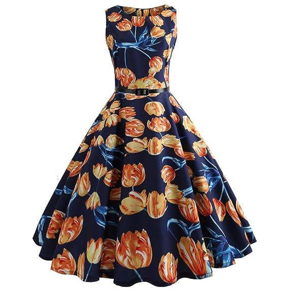 Keepwin Mujer Vintage Vestido AñOs 50 Falda ImpresióN Floral Sin Mangas Vestidos De Fiesta (S