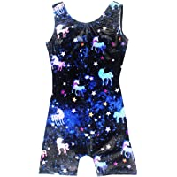 Leotards for Girls Gymnastics Kids Children Biketard With Shorts Sparkly Unicorn Dance Unitards(Multiple Colors)