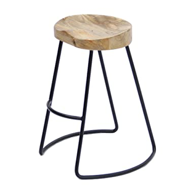 The Urban Port UPT-37910 Classy Wooden Barstool with Iron Legs (Short)