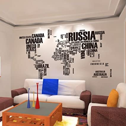 Amazon 1 x wall stickers diy large world map in words removable 1 x wall stickers diy large world map in words removable vinyl decal mural art home publicscrutiny Images