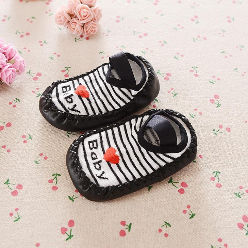 Highpot Baby Boys Girls Striped Letters Pattern Socks Anti-skid Shoes Floor Socks