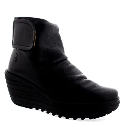 Amazon.com | Womens Fly London Yegi Leather Velcro Fashion Wedge ...
