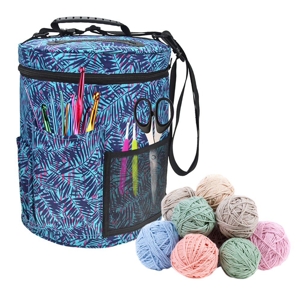 Large Storage Bag,Large-sized Cylinder Crochet Hook Woolen Yarn Storage Bag Tote Organizer-With The Shoulder Strap As The Tote Bag And Crossbody Bag- Great for Students in Halls, Families & Travelling kati-way