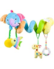 Baby car seat toys Activity Spiral Plush Stroller and Crib Toys for Travel accessories Hangings rattle toy(Elephant)