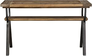 MY SWANKY HOME Rustic Reclaimed Wood Industrial Style Console Table | Antique Iron Shelf Minimalist