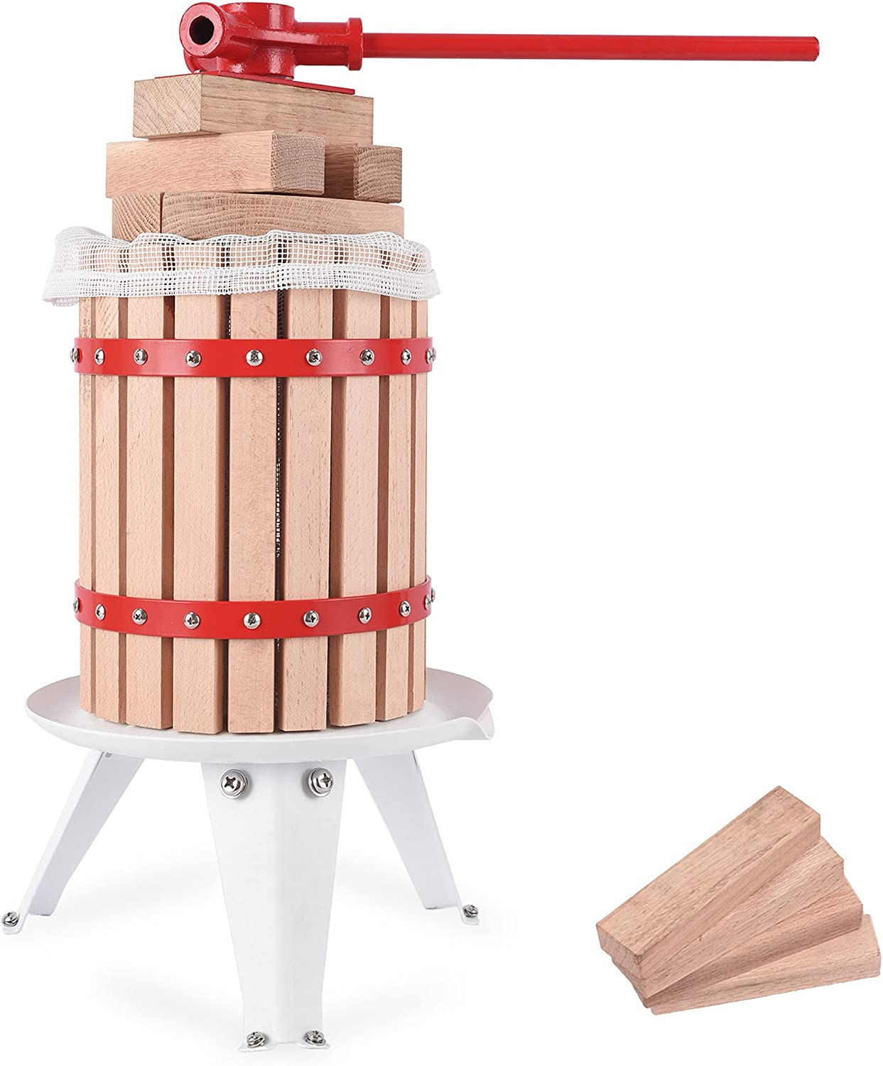 Pondo Upgraded 1.6 Gallon/6 L Manual Fruit Wine Press With 8 Blocks 100% Nature Oak, Cider Apple Grape Berries Crusher Juice Maker for Kitchen, Home and Outdoor