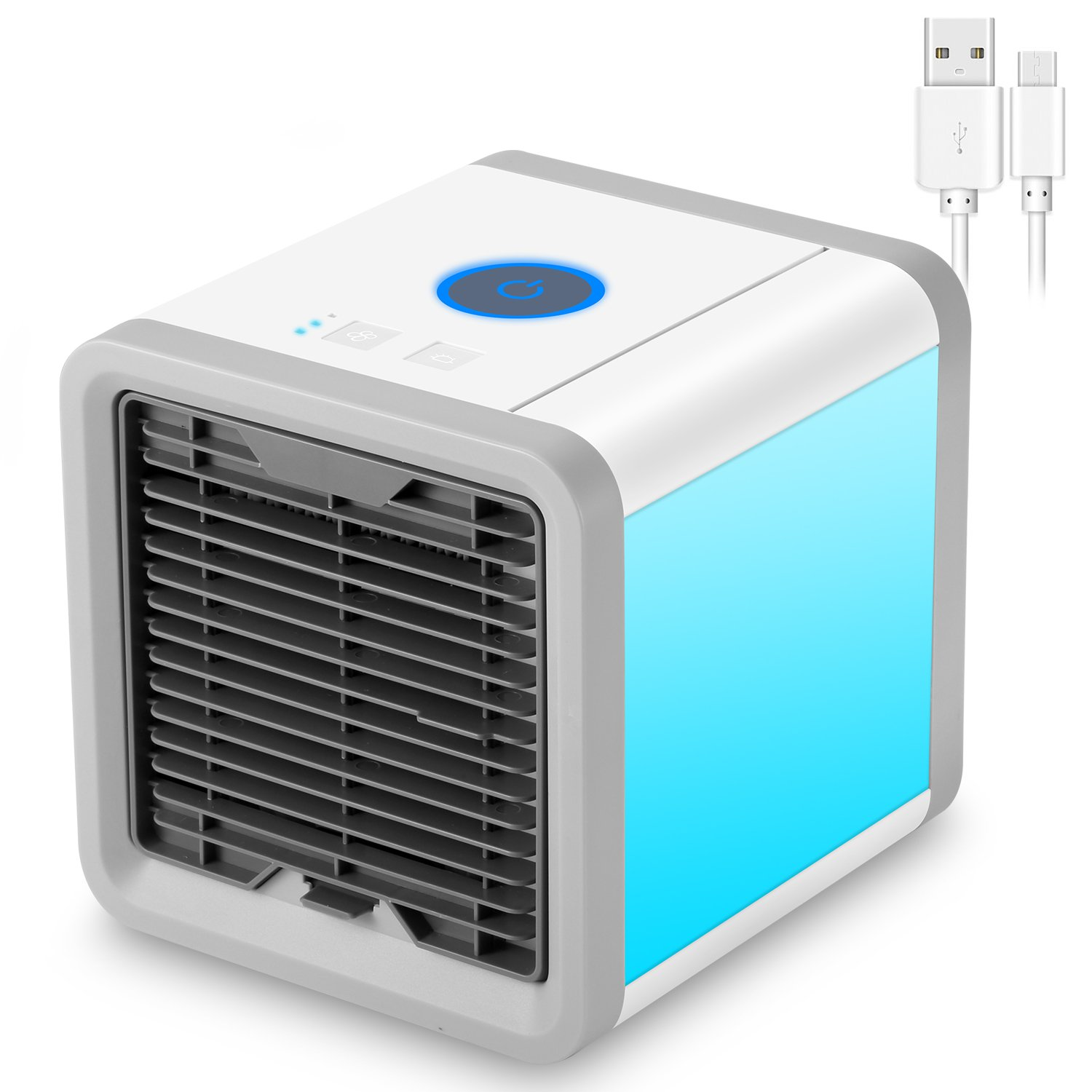 NEXGADGET Portable Air Cooler, 3 in 1 USB Mini personal Air Conditioner, Humidifier, Purifier,Desktop Cooling Fan with 7 Colors LED Night Light for Office, Home, Outdoor Travel