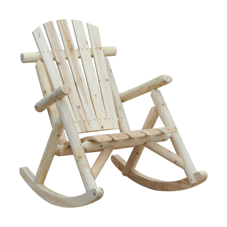 Rocking Chair Patio Rocker Traditional Cedar Wood Ergonomic Burlywood Garden