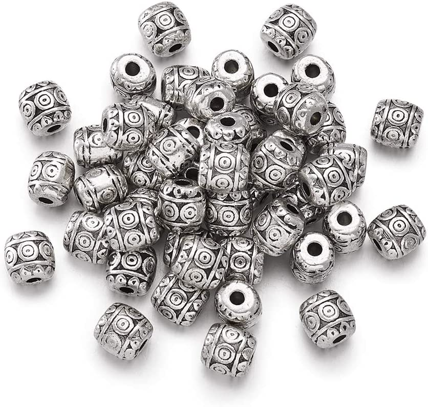 9 x 7 MM,HOLE~4.8 MM 30 x ANTIQUE SILVER~ROUND//TUBE~TIBETAN STYLE~SPACER BEADS