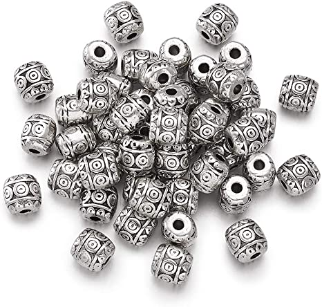 30 x ANTIQUE SILVER~TUBE~TIBETAN STYLE~HOLLOW~SPACER BEADS~6 x 6 MM~ 3.5 MM HOLE
