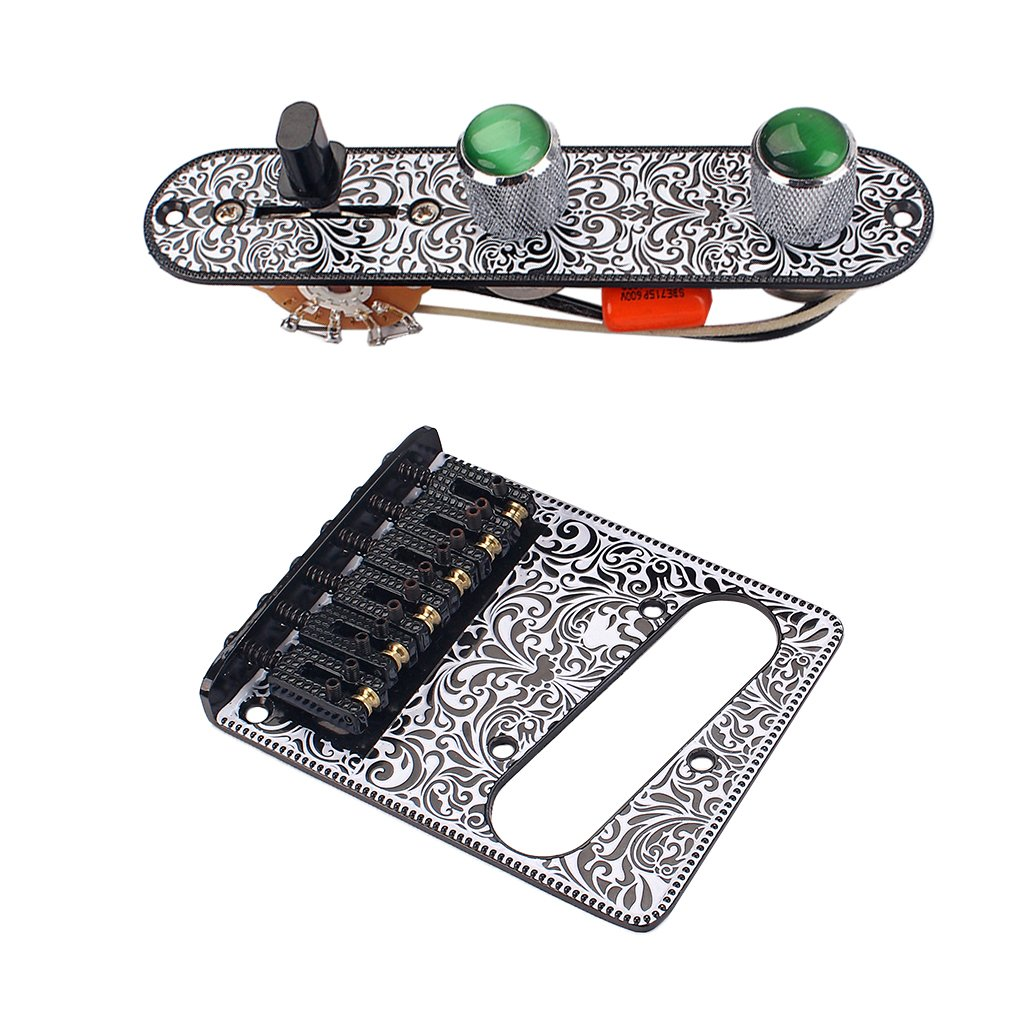 Homyl 3 Way Prewired Control Plate Bridge Replacement Accessory for Telecaster Electric Guitar - Black