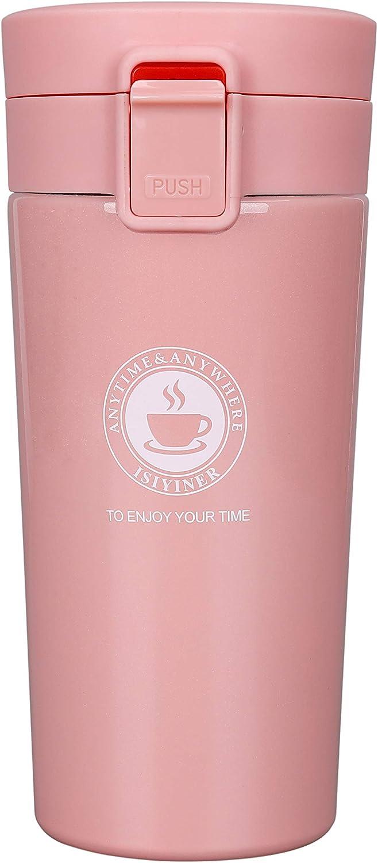 Termo,Termo de Café para Llevar de Acero Inoxidable Vaso Termico Prueba de Fugas Taza de Café Térmica Sin BPA para Coche Oficina Viaje 380ML Rosado