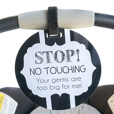 STOP Your germs are too big for little me Please look D Light Blue Stop Tag