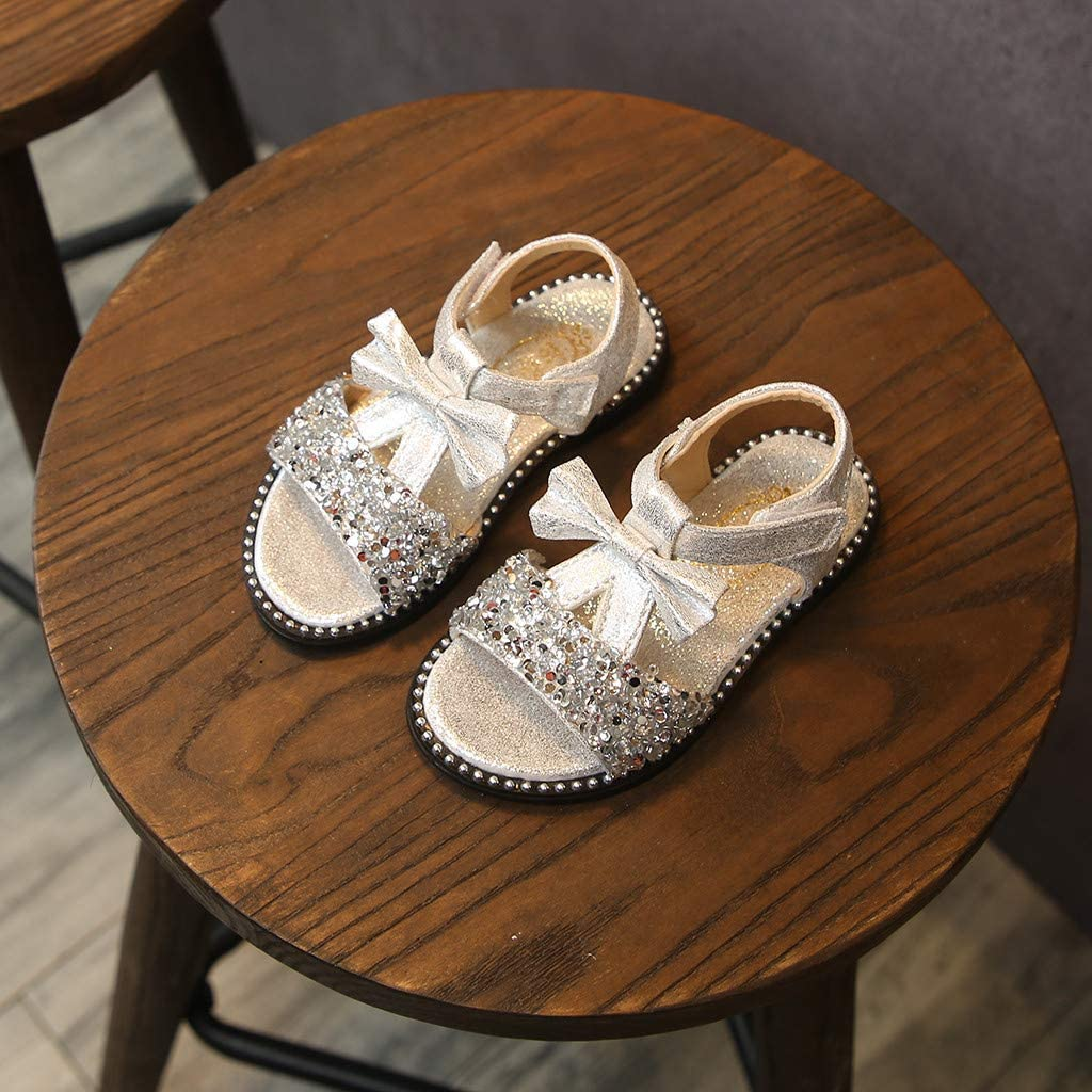 ❤️Rolayllove❤️ Toddler Kids Baby Girls Bowknot Bling Sequins Single Princess Shoes Sandals Girls Glitter Rhinestone 21-30