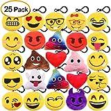 "Kuuqa 25 Pack Emoji-Pop Plush Pillow Keychain Emoji Party Supplies Favors Car Key Ring Pendant Keychain Decorations 2"""