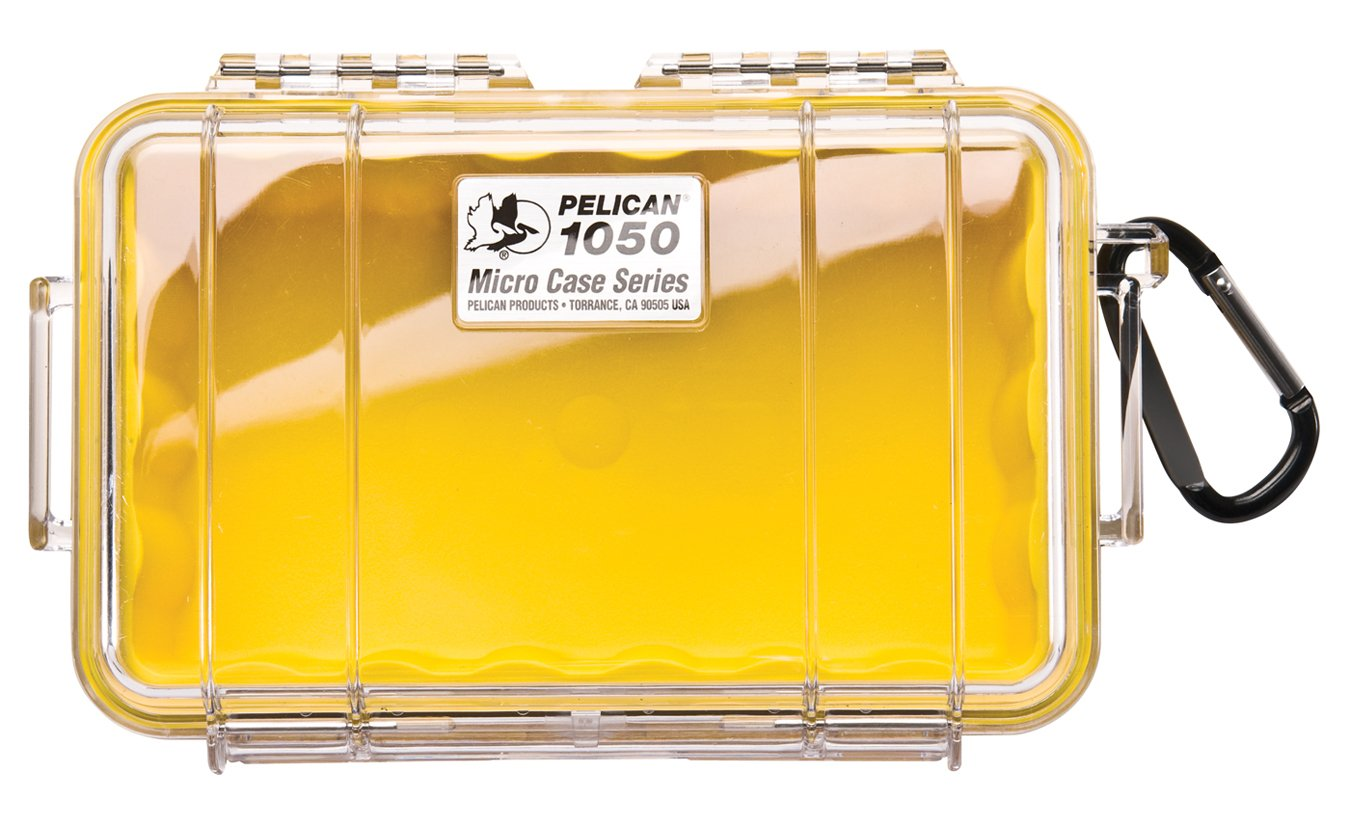Waterproof Case | Pelican 1050 Micro Case - for iPhone, cell phone, GoPro, camera, and more(Yellow/Clear)