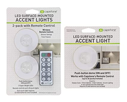 Capstone Wireless LED Surface-Mounted Accent Lights-Push Button Dome w/Adhesive Tape