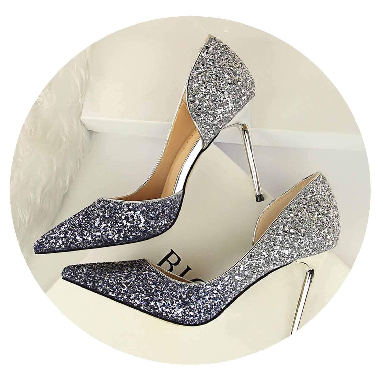bluee 9cm Glitter High Heels Sequins Scarpins Pumps Silver gold Escarpins Scarpins Talons shoes