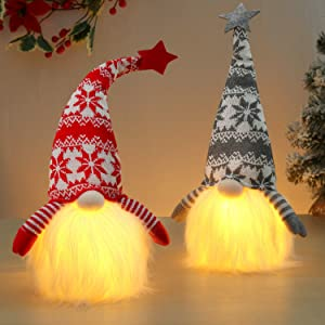D-FantiX Christmas Gnomes Light Up, 2 Pack Large Swedish Tomte Gnome Plush with Warm Lights Scandinavian Santa Christmas Ornaments Winter Holiday Party Home Decor