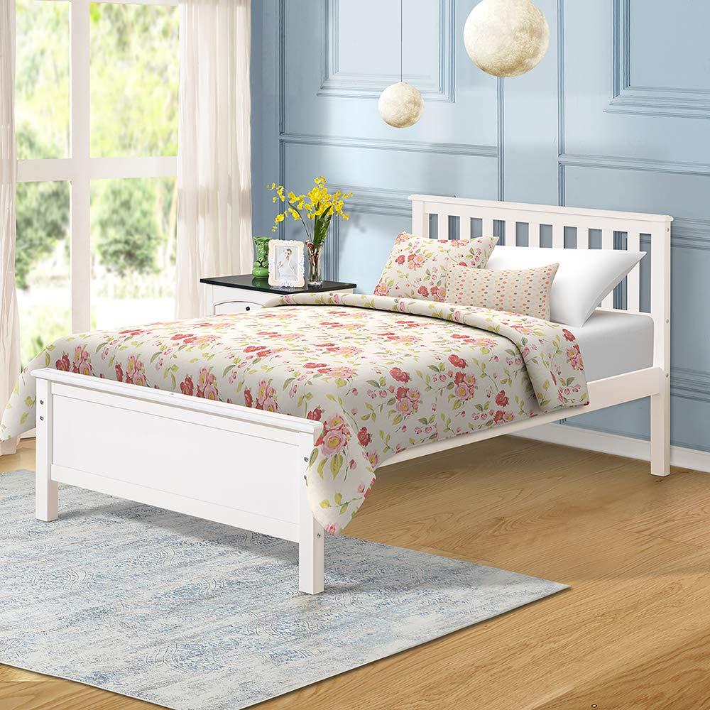 Twin Bed, Rockjame Premium Platform Bed Frame with Strong Wood Slat Support, Easy Assembly, No Box Spring Needed, Great for Boys, Girls, Kids, Teens and Adults White