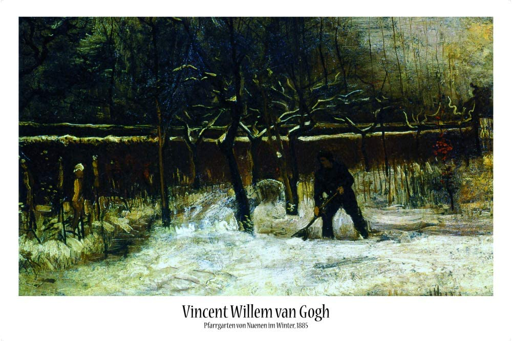 1art1 Vincent Van Gogh Poster - The Parsonage Garden of Nuenen in The Snow, 1885 (36 x 24 inches)