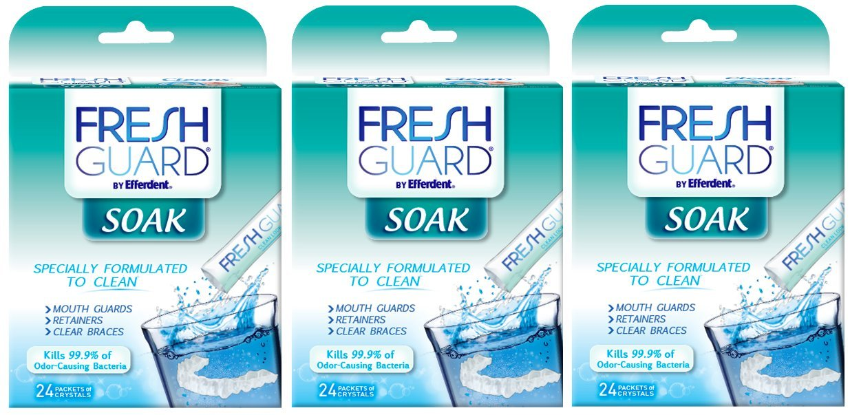 Fresh Guard by Efferdent Soak Crystals | 24 ct | Pack of 3 | Cleans Mouth Guards | Retainers | Clear Braces