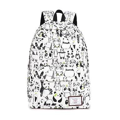 4df44d5bd841 CIKER Canvas Backpack Women Panda Printing Backpacks for Teenagers School  Bags (Beige)