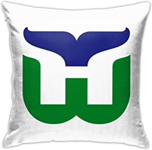 Kwtgsyhrt Hartford Whalers Pattern Pillows Case Soft Throw Pillow Double-Sided Pattern Couch Pillowcase Comfortable Square 45cm×45cm