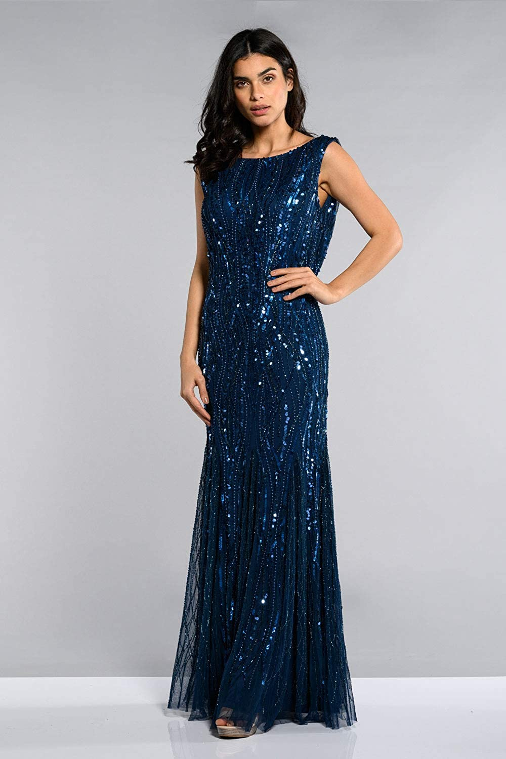 Find Downton Abbey Style Dresses in the UK gatsbylady london Catherine Maxi Prom Dress with Cowl Back Neck in Midnight Blue £179.00 AT vintagedancer.com