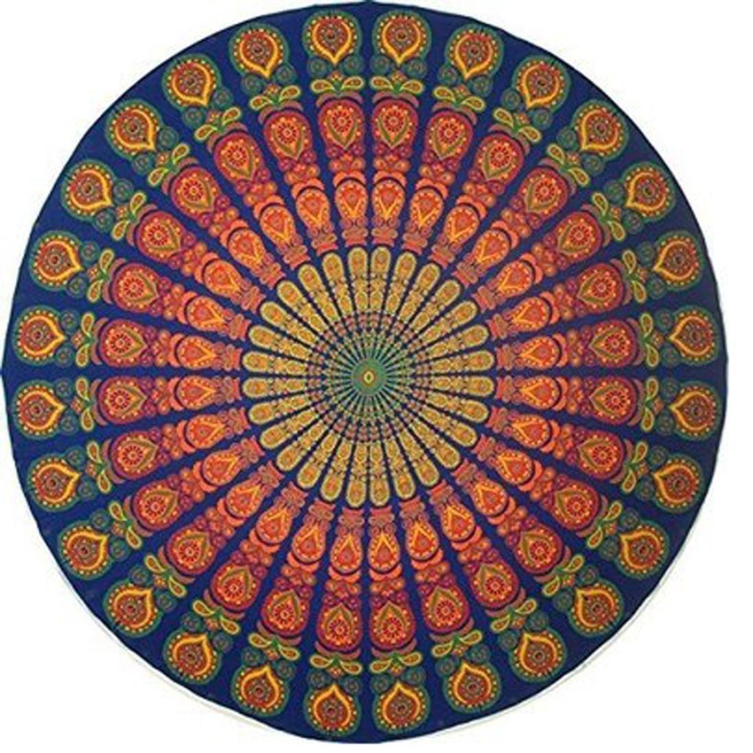 Bhagyoday fashions- indio Mandala redondo Roundie Beach manta tapiz, Hippie Boho Gypsy toalla de playa, Roundie toalla, toalla de, extragrande redonda para ...