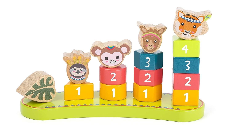 Small Foot - Gioco Numeri Jungle Certificato FSC 100%, Set di 16 Pezzi con Blocchi di Legno Colorati in Vari Colori e Forme, favorisce la concentrazione, per Gli Amanti dei Giochi ad Incastro e da impilare dai 12 Mesi in su. Giocattoli, Multicolore, 11092