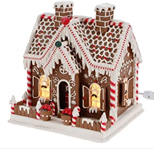 RAZ Imports Lighted Gingerbread House with Candy and Decorations, 11 Inch (Operated with Plug)