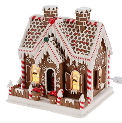 lighted gingerbread house with candy and decorations 11 inch operated with plug - Gingerbread Christmas Decorations