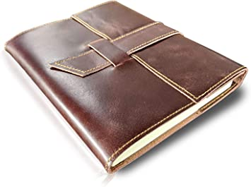 Leather Journal to Write in Notebook Refillable Diary for Men Women Writers Artist Poet Gift for Him Her (Unruled/Blank Journal)