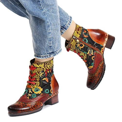 7c3ba373c36 Camfosy Women s Leather Ankle Boots
