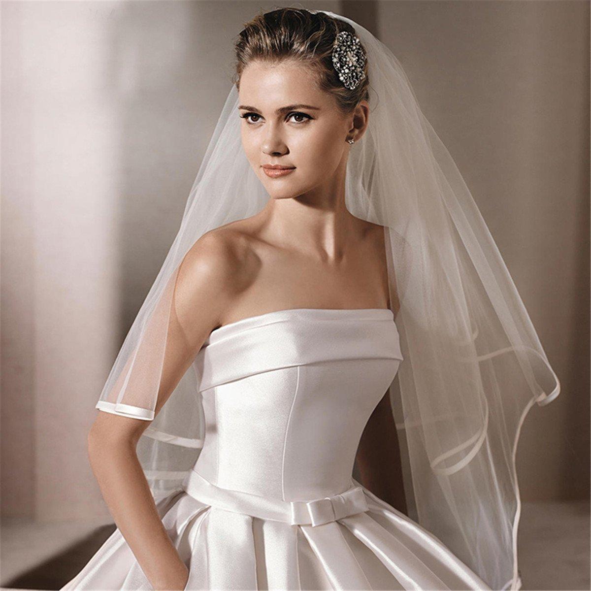 Lianshi Double-Layer Braut Brautschleier Satinkante mit Kamm 3M Lange