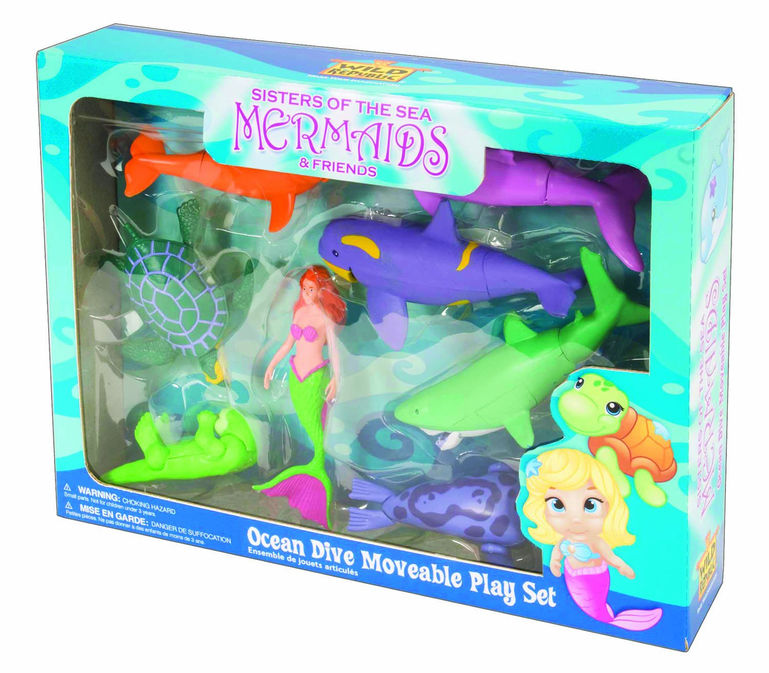 Wild Republic Mermaid Ocean Dive Eco Expedition Great White Shark Seal Sea Turtle Penguin Dolphin Orca 9 Piece Playset 14820 Sea Otter Beluga Whale