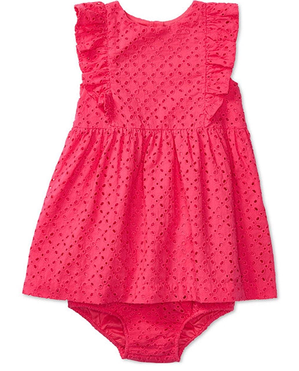 Ralph Lauren Baby Girls 2pc L//S Cotton Polo Dress /& Bloomer Set