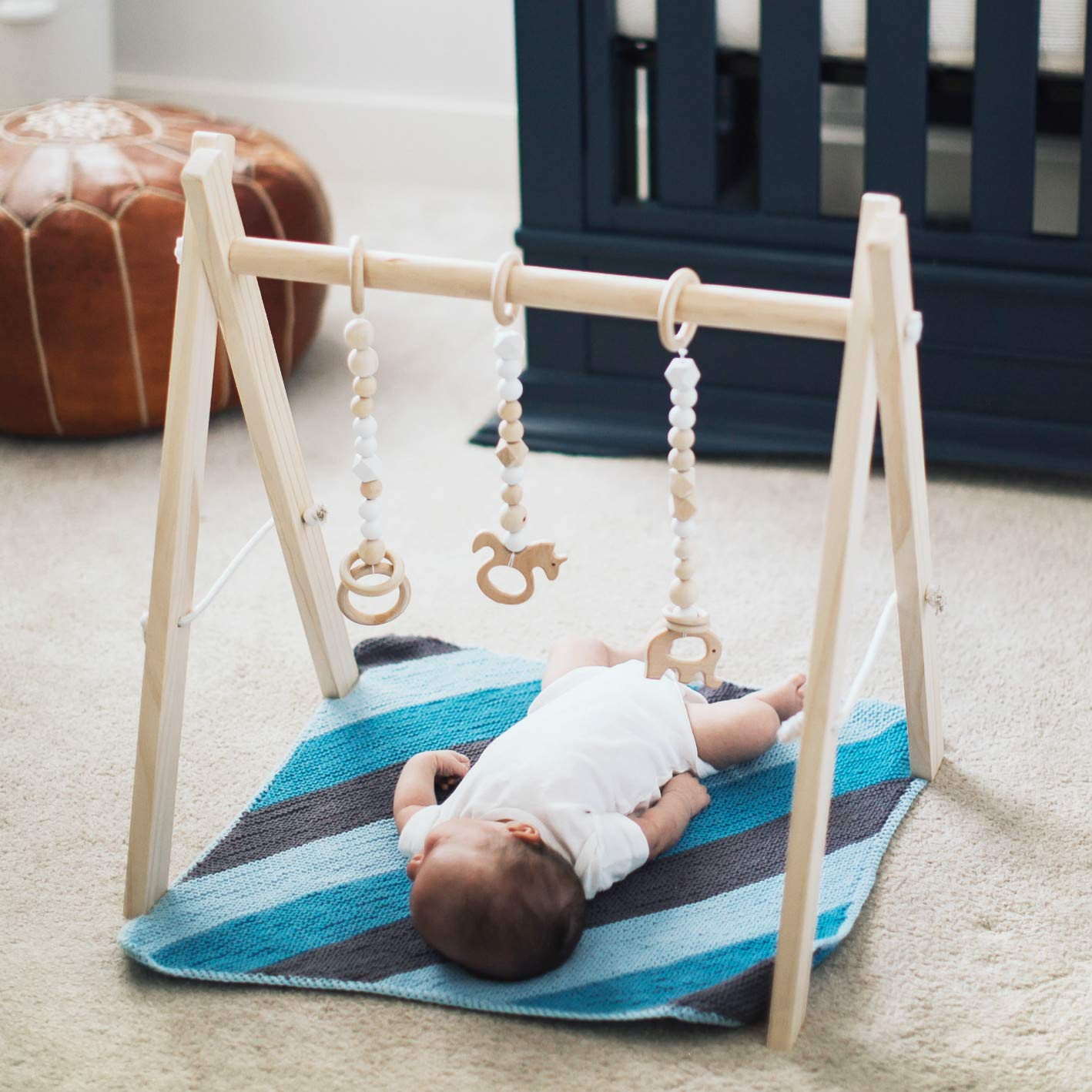 funny supply Wood Play Gym with 3 Gym Toys Foldable Baby Play Gym Frame Activity Center Hanging Bar Newborn Gift funny fupply