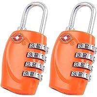 2 x TSA Security Padlock - 4-dial Combination Travel Suitcase Luggage Bag Code Lock (ORANGE) - LIFETIME WARRANTY
